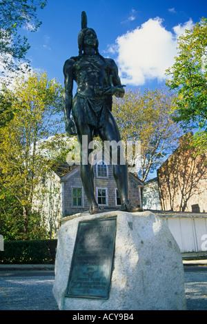 Plymouth Massachusetts Statue von Massasoit, ein Indianer, die die Pilger geschützt - Stockfoto