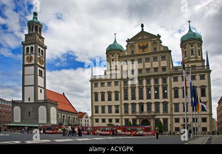 Perlach-Turm und Rathaus, Augsburg, Deutschland - Stockfoto