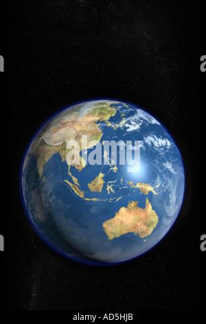 Der Planetenerde aus dem Weltraum in ein hochauflösendes fotorealistisch gerenderte Bild gesehen - Stockfoto