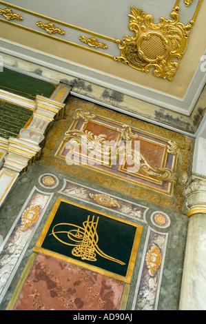 Der reich verzierte Decke des Topkapi Palastes auf den Punkt Serail in Istanbul, Türkei - Stockfoto