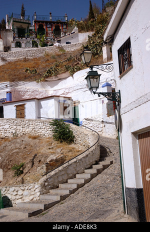 Charakteristischen Blick in der Nähe von Mirador San Nicolás Nicolas St Nicholas Granada Andalusien Andalusien España - Stockfoto