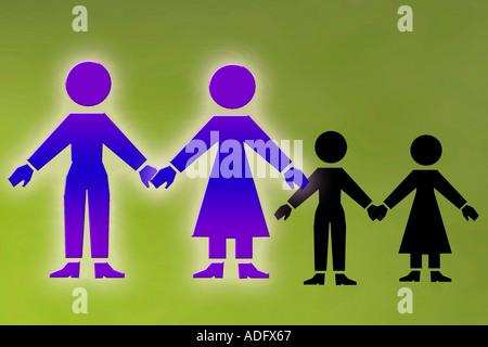 grafische Darstellung von ein paar mit Kindern in der Silhouette kann Unfruchtbarkeit fehlt oder verloren gegangene - Stockfoto