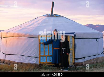 Mongolische Jurten Wohnungen Mongolei - Stockfoto