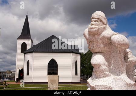 Wales Cardiff Bay Jonathon Williams Captain Scott Memorial vor der norwegischen Kirche - Stockfoto