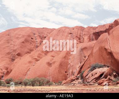 Detail der Abschnitte des Uluru Ayers Rock Uluru Kata Tjuta National Park Central Australia Northern Territory Australien - Stockfoto