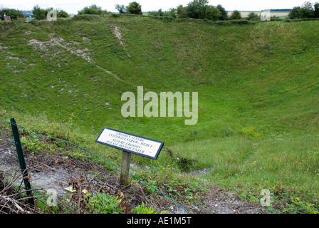Lochnagar Crater bei La Boisselle in der Nähe von Albert in der Somme. - Stockfoto