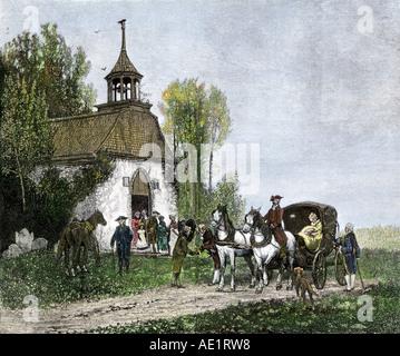 Gemeindemitglieder nach Hause nach der Kirche im Sleepy Hollow im Staat New York. Hand - farbige Holzschnitt - Stockfoto