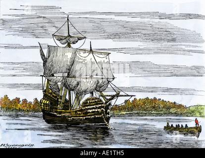 Die erste Landung Partei der Pilger aus der Mayflower in Plymouth Harbor 1620. Hand - farbige Holzschnitt - Stockfoto