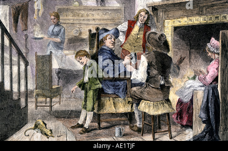 Dutch colonial Familie zu Hause in New Holland 1600. Hand - farbige Holzschnitt - Stockfoto