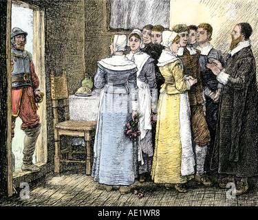 Puritan Hochzeit in New England 1600. Hand - farbige Holzschnitt - Stockfoto