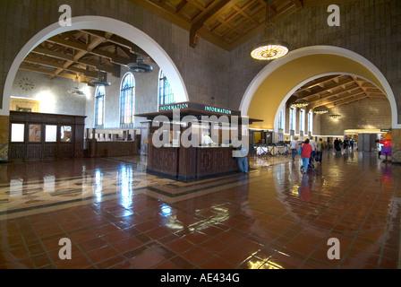 Union Station, Eisenbahn Endstation, Innenstadt, Los Angeles, California, Vereinigte Staaten von Amerika - Stockfoto