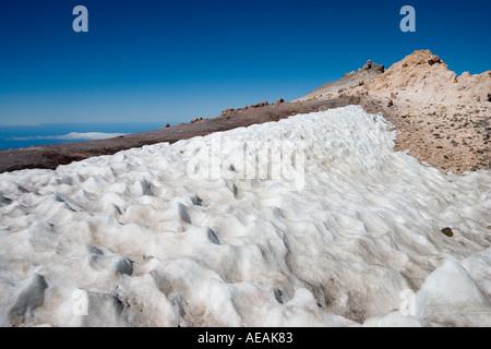 Schnee auf das Gipfel Mount Teide Teneriffa Kanaren Spanien - Stockfoto