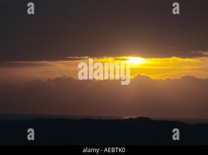 Sunrise Over Benacre Strand in Suffolk Uk - Stockfoto