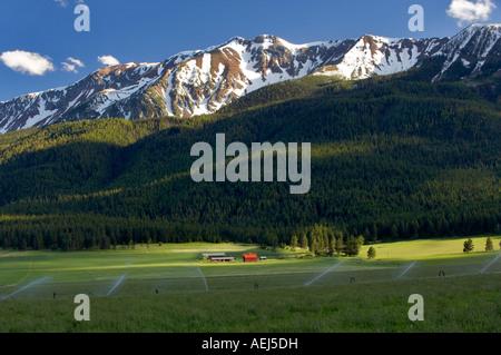 Ackerland in der Nähe von Joseph mit Scheune und Wallowa Mountains Oregon - Stockfoto