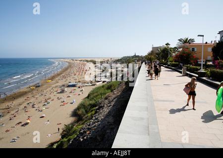 Promenade, Playa del Ingles, Costa Canaria, Gran Canaria, Spanien - Stockfoto