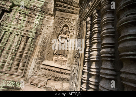 Feine Schnitzereien an den Wänden der Ta Prohm Tempel in der Nähe von Angkor Wat in Kambodscha - Stockfoto
