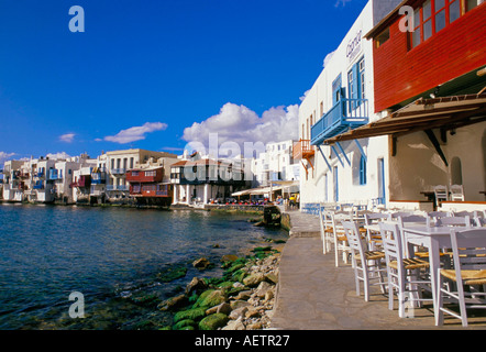 Uferpromenade von Klein-Venedig Viertel Mykonos Kykladen Inseln Griechenland Mittelmeer Europa - Stockfoto