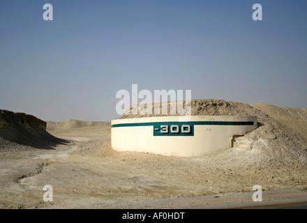 300m Höhe Mark auf der Straße nach der Region des Toten Meeres - Stockfoto