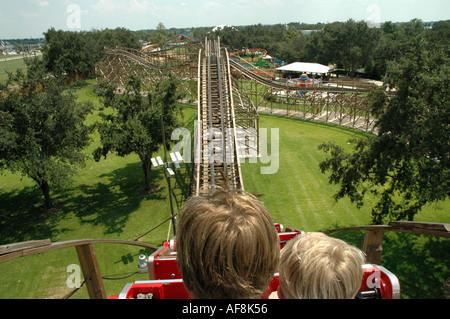 Cypress Gardens Adventure Park Florida Fl Winter Haven Florida Attraktionen Triple Hurrikan hölzerne Achterbahn - Stockfoto
