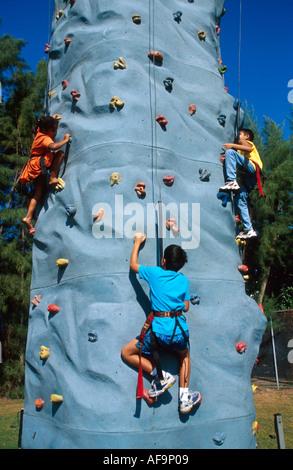 Miami Beach Florida Flamingo Park Felsen Wand Kinder klettern künstliche Felsen Wand Sicherheit Seile Gurte Aufwand - Stockfoto