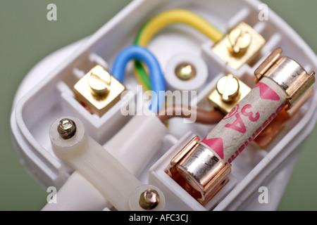 Drei zentralen Kabel mit Brown Live Wire grün und Gelb Erde Draht ...
