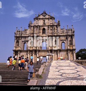 Ruinen der St. Pauls Kathedrale in Macau China - Stockfoto