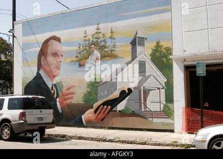 Florida, FL, Süd, Putnam County, Palatka, Kleinstadt, Billy Graham Wandbild, hier geboren, Kirche, Religion, Glaube, - Stockfoto