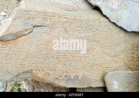 Buddhistische Mani Stein in Ladakh, Jammu und Kaschmir, Indien - Stockfoto