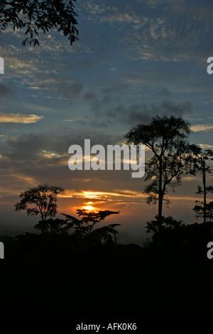 Sonnenauf- oder Sonnenuntergang über afrikanischen tropischen Regenwald, Ghana, Westafrika - Stockfoto