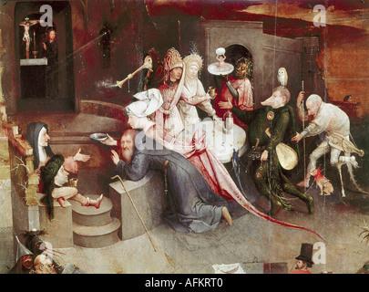 """""""Bildende Kunst, Bosch, Hieronymus (ca. 1450-1516), Malerei,""""die Versuchung des Heiligen Antonius"""", Mitteltafel, - Stockfoto"""