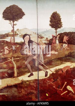 """""""Fine Arts, Bosch, Hieronymus (ca. 1450-1515), Malerei,""""der Heuwagen"""", äußeren Flügel,""""der Wanderer"""", 1500-1502, Öl auf"""