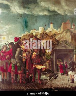 """""""Bildende Kunst, Altdorfer, Albrecht (1480-1538), Malerei,""""die Erfassung des Heiligen Florian"""", 1516-1518, Tempera auf Verkleidung, 78,5"""