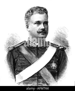 Charles, I, 28.9.1863 - 1.2.1908, König von Portugal 19.10.1889 - 1.2.1908, Porträt, Gravur um das Jahr 1895, Wettin - Stockfoto