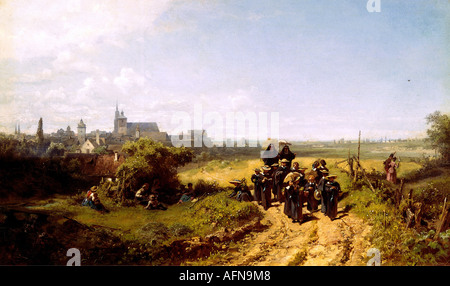 """""""Bildende Kunst - Spitzweg, Carl (1808 – 1885), Malerei""""Institutsspaziergang""""(zu Fuß mit dem Institut), ca. 1872, - Stockfoto"""