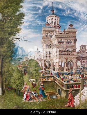 """""""Fine Arts, Altdorfer, Albrecht (1480-1538), Malerei,""""Susanna im Bad und die Steinigung der ältesten"""", 1526, Öl auf Pa"""