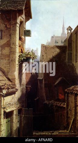 """""""Bildende Kunst - Spitzweg, Carl (1808 – 1885), malen,""""Ein Hypochonder""""(The Hypochonder), ca. 1865, Öl auf Leinwand, - Stockfoto"""