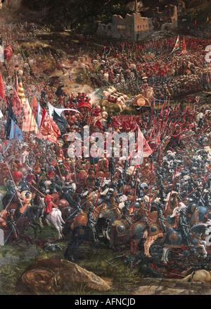 """Fine Arts, Altdorfer, Albrecht (1480-1538), Malerei,""Hat""(""Battle of Alexander der große""), Detail, 15"