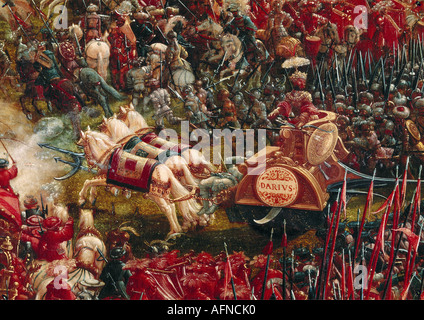 """fine Arts, Altdorfer, Albrecht (1480-1538), Malerei,""Hat"", (""Battle of Alexander der große""), detail"""