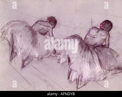 """""""Bildende Kunst, Degas, Edgar, (1834-1917), Malerei,""""Zwei ruhenden Tänzer"""", Pastell auf Papier, Art House, Zürich, historisch, Histor"""