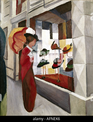 """Fine Arts, Macke, August (1887 – 1914), Malerei,""Frau Mit Sonnenschirm Vor Einem Hutladen"", ("" Frau mit Sonnenschirm - Stockfoto"