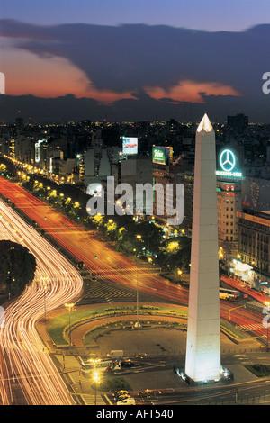 Obelisk Avenida 9 de Julio Buenos Aires Argentinien - Stockfoto