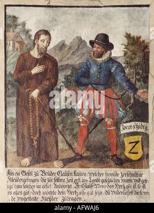 Nikolaus von Flue, 1417 - 21.3.1487, Schweizer Einsiedler, asketischen, mystische, Heilige, mit einem journayman - Stockfoto
