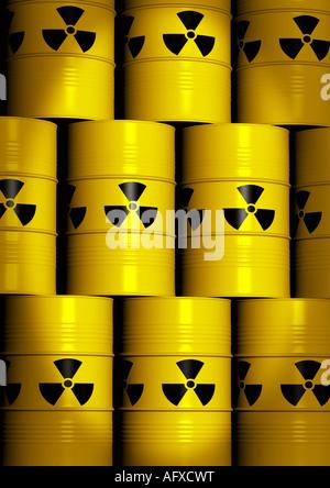 Pfähle mit nuklearen Abfällen Fässer Mit Atommuell-Fässer - Stockfoto