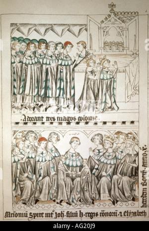 Heinrich VII., ca. 1275 - 24.8.1313, Heiliger römischer Kaiser 29.9.1312 - 24.8.1313, oben: Am Schrein der Magi, - Stockfoto