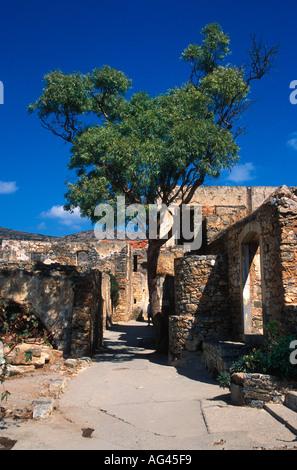 Verfallenen Gebäude auf der venezianischen Insel von Spinalonga bis 1953 der letzte Lepra-Kolonie in Europa Kreta - Stockfoto