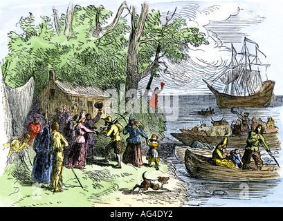 Landung der Niederländischen kolonisten wie Wallonen in New Amsterdam 1600 bekannt. Hand - farbige Holzschnitt - Stockfoto