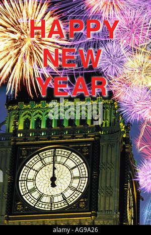 S Neujahr Silvester Feuerwerk um Mitternacht über Big Ben London England UK - Stockfoto
