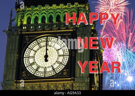 Neujahr s Eve Feuerwerk um Mitternacht über Big Ben London England UK - Stockfoto