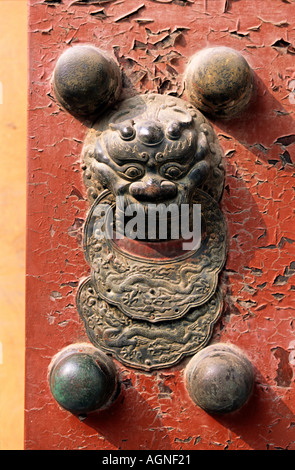 Heftige Fabeltier schmückt Tor zur verbotenen Stadt Peking China - Stockfoto