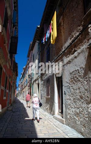 Mittelalterlichen Gassen von Rovinj Istrien Kroatien - Stockfoto